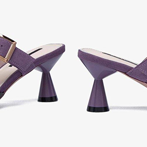 Beige Baotou avec Mode 37 A Muler avec Couleur Pantoufles Taille De La Jingsen Pointu Black Chaussures De des des InZwOET5qx