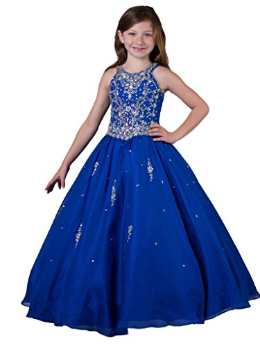 GreenBloom Floor Length Sweetie Girls' Jewel Crystals Hollow Pageant Dresses Blue 4