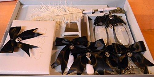 Wedding Reception Skull Biker 8 Psc Gothic Guest Book Glasses Cake knife Garter ()