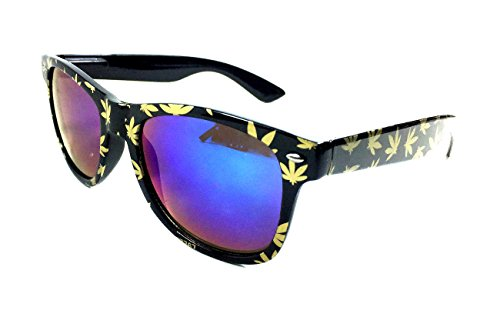 Black Weed Leaf Print Sunglasses w/ Iridium Lenes (Black & Gold, Blue Iridium - Shades Weed