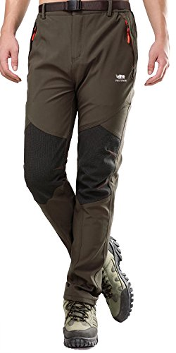 Mens Outdoor Soft Shell Pants Polar Fleece Transparent Waterproof Membrane 815 Black Medium(Tag Size XL)