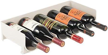 mDesign Estante para Vino – Práctico botellero apilable en plástico para hasta 5 Botellas – Manejable Mueble vinoteca para Botellas de Vino y Otras Bebidas – Crema/Beige