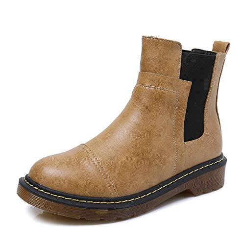Smilun Kids¡¯s Chelsea Ankle Chelsea Boots Flats Low Heel with Block Western Chunky Heel Chelsea Boots for Kids Brown US6 by Smilun (Image #1)