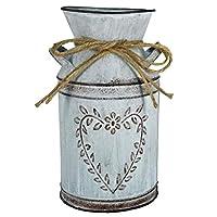 Vaso da fiori vintage vaso da latte shabby stile francese vaso da casa di campagna con cuore unico e design a corda vaso…