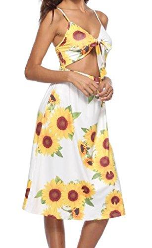 Coolred-femmes Dos Évidé Ananas Beachwear Tournesol Bowknot Robe As2