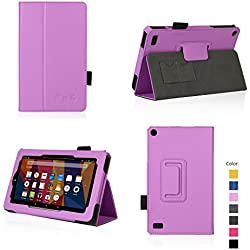 Case for All-New Fire 7 2017 - Premium Folio Case for All-New Fire 7 Tablet with Alexa 7th Generation - (Purple)