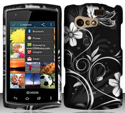 Kyocera Rise C5155 (Virgin/Sprint) White Flowers Design Hard Case Snap On Protector Cover + Free Opening Tool + Free Animal Rubber Band Bracelet