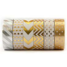 6 Rolls of Gold Washi Tape, Colored Decorative Masking Tape – For Gift Wrapping, Scrapbooking, Creative Works – Chevron, Stripe, Arrow, Polka Dot, Zig Zag, Heart - (15mm x 10m) - Gold & Silver - by Washi.Design (Royal Gold)