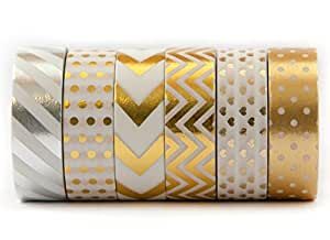 6 Rolls of Gold Washi Colored Decorative Masking Tape – For Gift Wrapping, Scrapbooking, Creative Work – Chevron, Stripe, Arrow, Polka dot, Heart - (15mm x 10m) - By Washi.Design (Royal Gold)