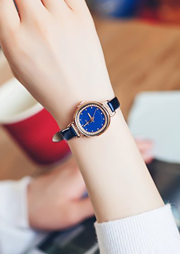 Fashion Woman Gift Elegant Lady Student Girlfriend Small Soft Leather Watch (ke Purple Square Tiles Water (Blue)