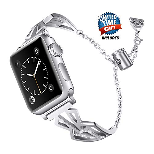 (Inno-Huntz Fancy Compatible with Apple Watch Band 38mm 40mm 42mm 44mm for IWatch Bands Series 4 3 2 Adjustable I Watch Bracelet Dressy Stainless Steel Metal Pendant and Tassel Wristband Womens Silver)