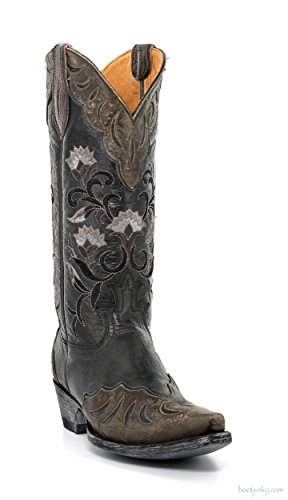 L2477-3-SS OLD GRINGO NAOMI OVERLAY 13″ BLACK COWGIRL BOOTS