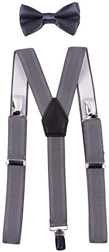 YJDS Kids Suspender Bowtie Sets Classic Y Back Grey Thread 30'' by YJDS