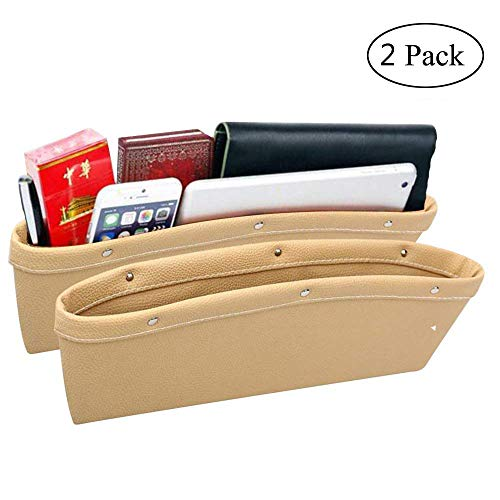 RuiXiang 2 Pack Car Seat Gap Filler Pocket Organizer,Luxury PU Leather Seat Console Side Pocket,Car Interior Accessories Fills the gap Between Seats (beige)