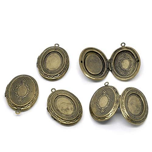 Hot 5 Medallion Oval Pendants 34x24mm Bronze Color Photo holder