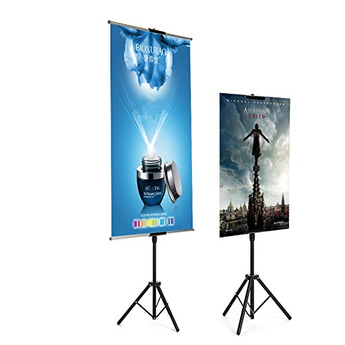 24' Aluminum Sign (HUAZI double-sided banner stand,floorstanding tripod easel sign holder,metal construction and black color,height adjustalbe up to 73 inches poster holder (Stand+2Rods-24''))