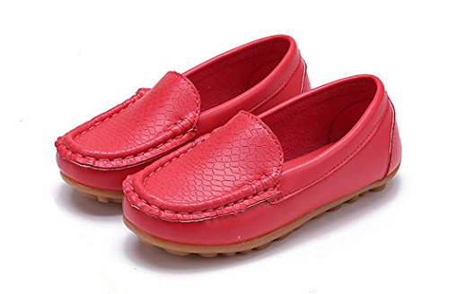 Toddler Kid Boys Girls Soft Casual Slip-On Loafers Shoes Red by GESELLIE