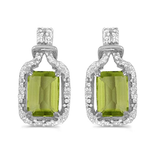 14k White Gold Studs Genuine Green Birthstone Emerald-cut Peridot And Diamond Earrings (1.66 ()