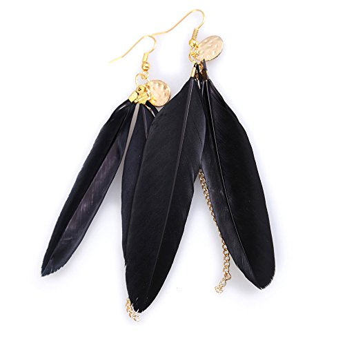 Globeagle European Style Black Exotic Metal Tag Plumage Tassel Girl Earrings