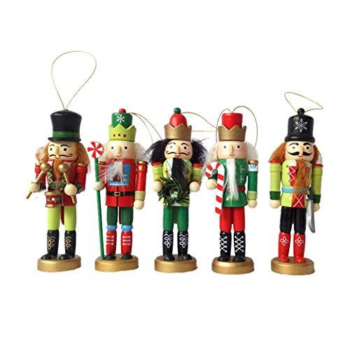 Biback Wooden Christmas Nutcracker Handmade Soldiers 5 Pcs Set Ornaments Decoration, Perfect for Christmas Decoration
