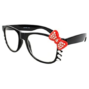 Hello Kitty Nerd Clear Lens Eye Glasses Black Frame Red Bow Silver Rhinestone (Black Red Bow Clear Lens)
