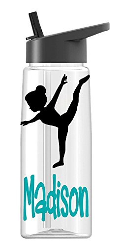 Personalized Drink ware Gymnast Girl design with name, BPA Free, vinyl design, by De La Design Gifts (26 oz -