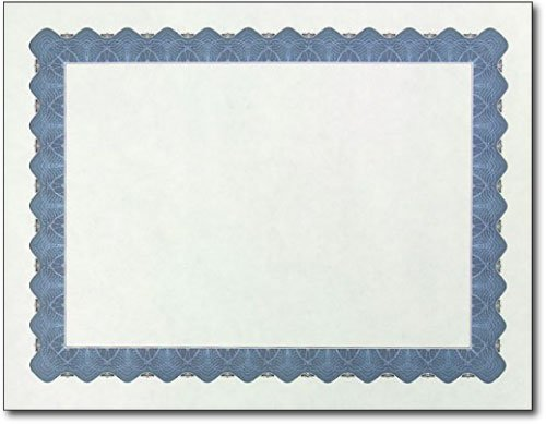 Metallic Border Parchment Certificate Paper - 250 Certificates - 8 1/2'' x 11'' - Premium Printable Blank Certificates (Blue)