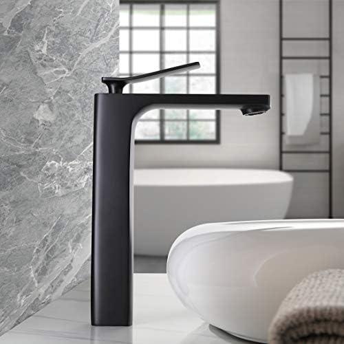 BULUXE Matte Black Bathroom Vessel Sink Faucet, Minimalist Single Hole Single Handle Deck Mount Solid Brass