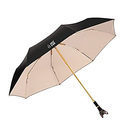 Paraguas plegable automatico Mujer niño Hombre an- Paraguas de Cabeza de Gato Mango Plegable de
