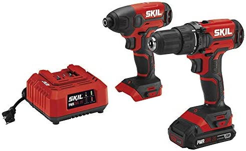 SKIL 20V 2-Tool Combo Kit 20V Cordless Drill Driver and Impact Driver Kit, Includes 2.0Ah PWRCore 20 Lithium Battery and Charger – CB739001