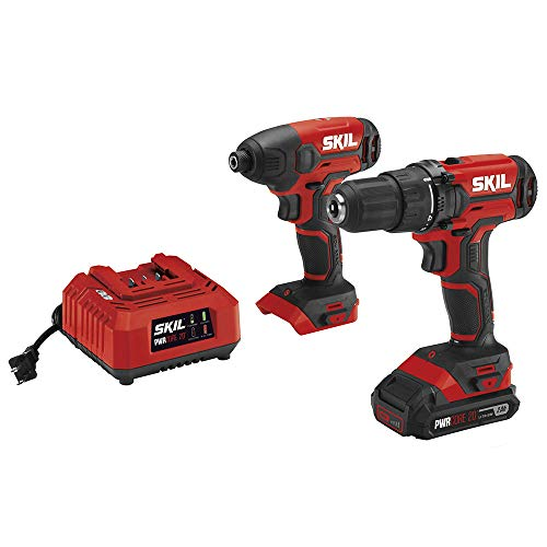SKIL 20V 2-Tool Combo Kit: 20V Cordless Drill Driver and Impact Driver Kit, Includes 2.0Ah PWRCore 20 Lithium Battery and Charger – CB739001
