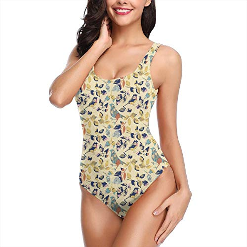 Women One Piece Swimsuit Swimwear,Applique Inspired Foliage Leaves and Bird Silhouettes Traditional European Influences