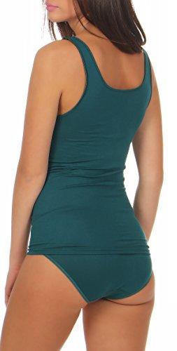 Damen Achsel-Top Shirt ohne Arm Unterhemd Micromodal mit Elasthan - Schöller - Farbe Dark Petrol / Dunkelgrün - Größe 42
