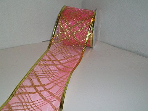- Gift Wrapping, Christmas Ribbon Wired Organza Sheer Glitter Ribbon, 2-1/2-Inch by 10-Yard Spool, Shocking Pink/Gold Square /Gold Edge