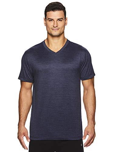 Gaiam Men's Everyday Basic V Neck T Shirt - Short Sleeve Yoga & Workout Top - Everyday Navy Heather, Large