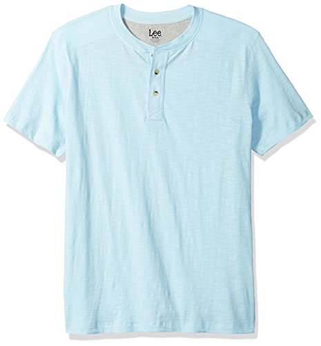 LEE Men's Short Sleeve Henley Tee, Light Blue, L by LEE