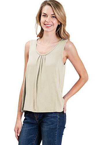CLOVERY Womens Scoop Neck Pleated Front Sleeveless Stretchy Blouse Tank Top Ivory M