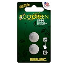 Perfpower Go Green Power LR44 1.5V Button Cell Battery (2 Pack), Gray