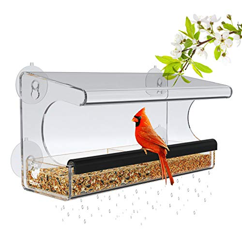 Window Bird Feeder for Outside Use with Strong Suction Cups - Removable Tray, Easy to Clean, Great Ventilation and Drain Holes. Crystal Clear Acrylic + 2 Ebooks Included
