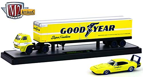 "M2 Machines 1969 Dodge L600 (Yellow w/White Stripe) & 1969 Dodge Charger Daytona 440 ""Good Year Auto-Haulers Release 19B - 2016 Castline 1:64 Scale Die-Cast Vehicle Set (R19 16-08)"