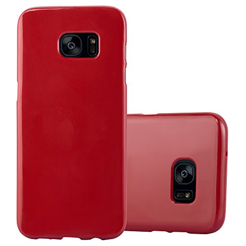 Cadorabo Case works with Samsung Galaxy S7 EDGE in JELLY RED (Design JELLY) – Shockproof Scratch Resistant Gel Case Protective Shell Bumper Skin Back Cover - Jelly Cover