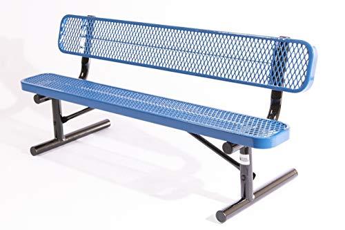 Coated Outdoor Furniture B6WBP-LBL Park Bench Back, 6 Feet, Light Blue