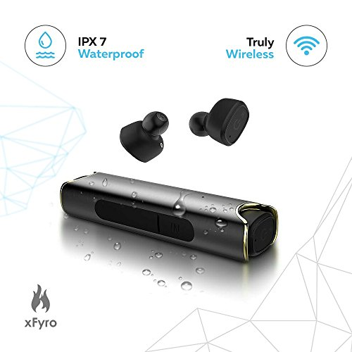 Wireless Earbuds xFyro xS2 Best Bluetooth Headphones with Microphone IPX7 Waterproof Sweatproof Sports Earphones with Stereo Noise Cancelling Headsets for iPhone and Android Charging Case v2 (Black) by xFyro