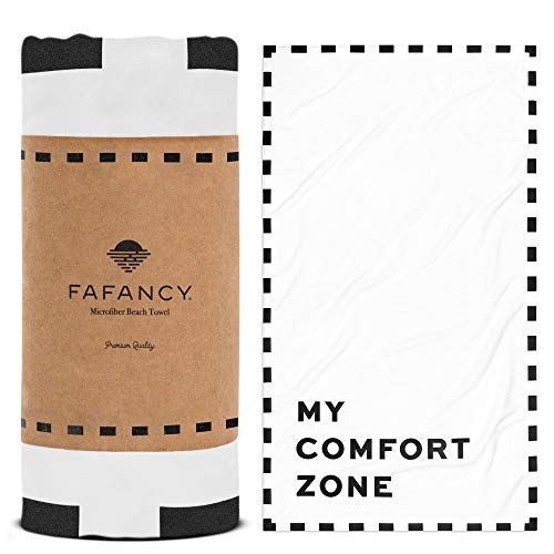 FAFANCY Oversized Microfiber Beach Towel - Best Lightweight Large Fast Drying Towel - Thin Sandfree Beach Towel - XL 63x35 Pool Swim Towel for Men Women (Black and White)