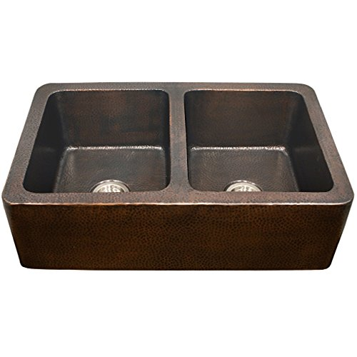 - Houzer HW-COP12 Hammerwerks Series Apron Front Farmhouse Copper 50/50 Double Bowl Kitchen Sink, Antique Copper