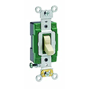 Leviton 3031-LHI 30 Amp, 120 Volt, Toggle Lighted Handle, Illuminated Off Single-Pole AC Quiet Switch, Extra Heavy Duty Grade, Self Grounding, Ivory