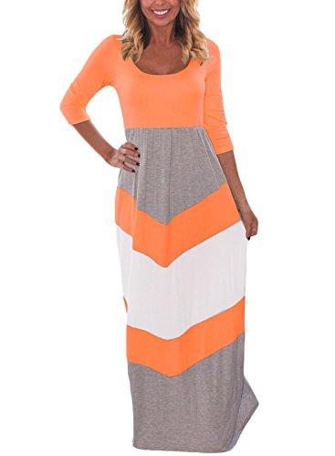 Orange Block Long Dress - 2