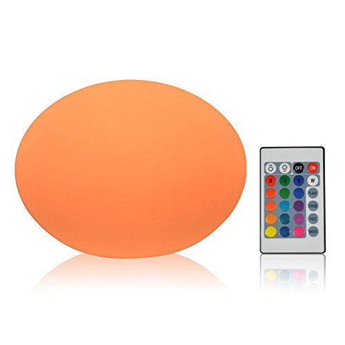 VGEBY LED Mood Lamp, RGB Night Light,LED Decorative Light,Floating Pool Light with Remote Control, Waterproof Rechargeable Indoor Outdoor Light(Shape Optioins: Mushroom Shape; Flat Ball Shape) Remote Control Floating Lantern