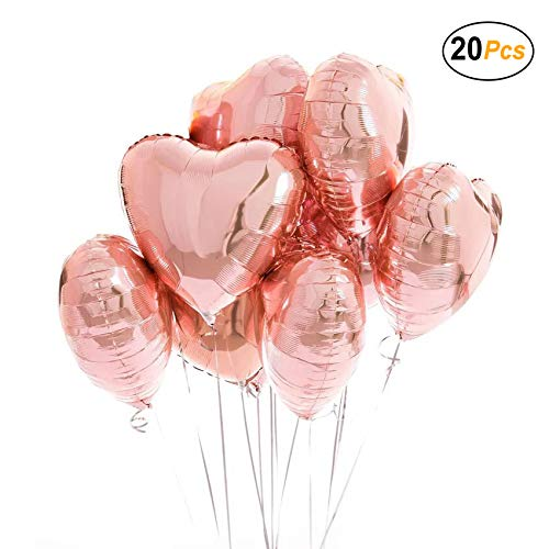 18 inch Rose Gold Heart Balloons Foil Balloons Mylar Balloons for Party Decoration, Pack of 20 ()