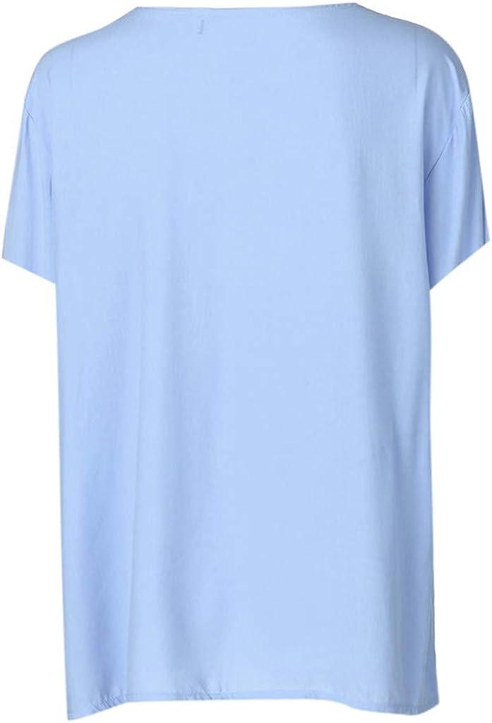 HULKY Pulsante delle Donne up T Shirt Vendita Estate Casual Manica Corta Wild Tunica Camicetta Top Plus Size